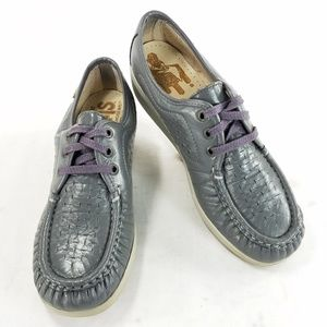 SAS Womens Handsewn Leather Wedge Moc Toe Shoes
